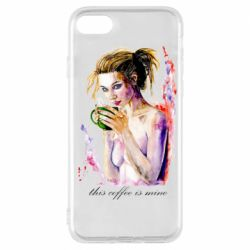 Чехол для iPhone 8 Naked girl with coffee