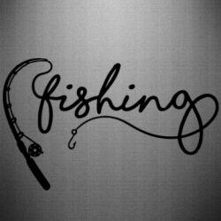 Наклейка Fishing and fishing rod