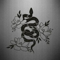 Наклейка Snake with flowers