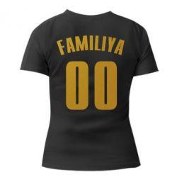 Женская футболка с V-образным вырезом Name and number (silver and gold)