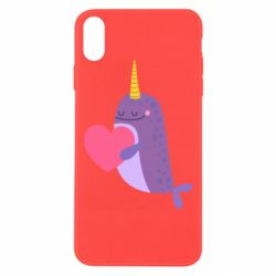Чехол для iPhone Xs Max Narwhal with a heart
