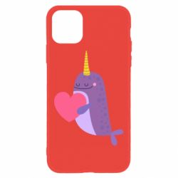 Чехол для iPhone 11 Narwhal with a heart