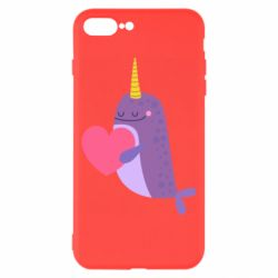 Чехол для iPhone 8 Plus Narwhal with a heart
