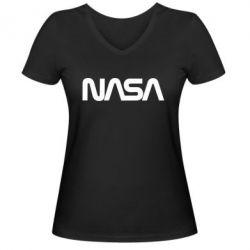 Жіноча футболка з V-подібним вирізом NASA logo