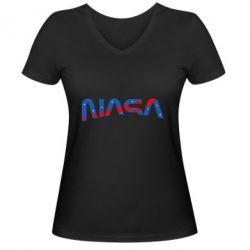 Жіноча футболка з V-подібним вирізом Nasa semicircle