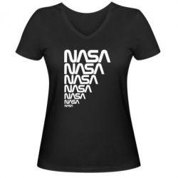 Женская футболка с V-образным вырезом NASA