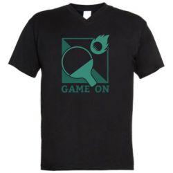 Мужская футболка  с V-образным вырезом Настольный Теннис игра