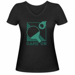 Женская футболка с V-образным вырезом Настольный Теннис игра