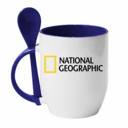 Кружка с керамической ложкой National Geographic logo