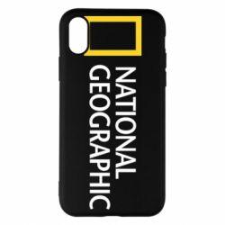 Чехол для iPhone X/Xs National Geographic logo