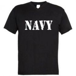 Мужская футболка  с V-образным вырезом NAVY - FatLine