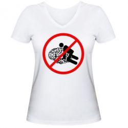Женская футболка с V-образным вырезом Не люби мне мозг! - FatLine