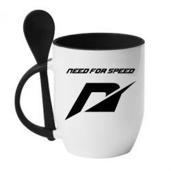 Кружка с керамической ложкой Need For Speed Logo