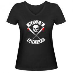Женская футболка с V-образным вырезом Negan Lucille