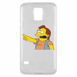 Чехол для Samsung S5 Нельсон Симпсон - FatLine