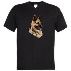 Мужская футболка  с V-образным вырезом Немецкая овчарка