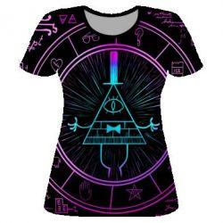 Жіноча 3D футболка Neon Bill Cipher - FatLine