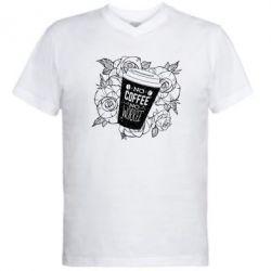 Чоловіча футболка з V-подібним вирізом Нема кави - нема роботи