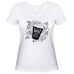 Жіноча футболка з V-подібним вирізом Нема кави - нема роботи