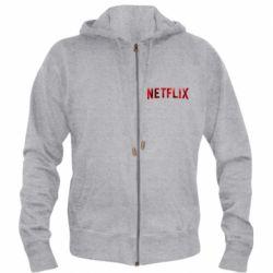 Мужская толстовка на молнии Netflix logo text