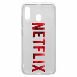 Чехол для Samsung A20 Netflix logo text