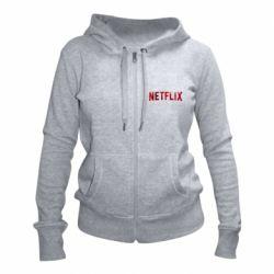 Женская толстовка на молнии Netflix logo text