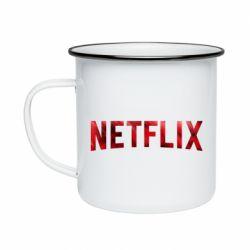 Кружка эмалированная Netflix logo text