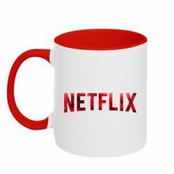 Кружка двухцветная 320ml Netflix logo text