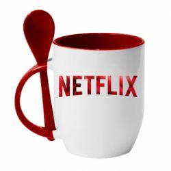 Кружка с керамической ложкой Netflix logo text
