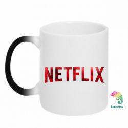 Кружка-хамелеон Netflix logo text