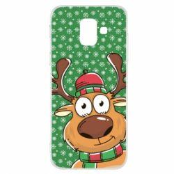 Купить Олень, Чехол для Samsung A6 2018 New Year's deer, FatLine