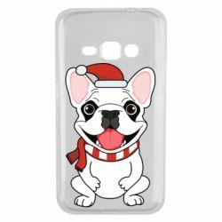 Чехол для Samsung J1 2016 New Year's French Bulldog