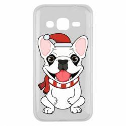 Чехол для Samsung J2 2015 New Year's French Bulldog