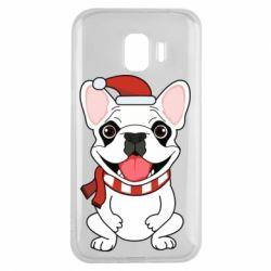 Чехол для Samsung J2 2018 New Year's French Bulldog
