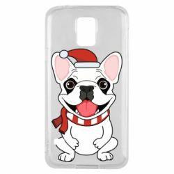 Чехол для Samsung S5 New Year's French Bulldog