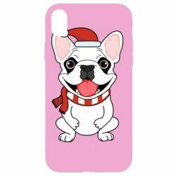 Чехол для iPhone XR New Year's French Bulldog