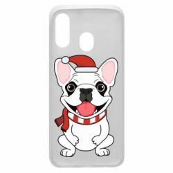 Чехол для Samsung A40 New Year's French Bulldog