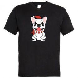 Мужская футболка  с V-образным вырезом New Year's French Bulldog