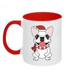 Кружка двухцветная 320ml New Year's French Bulldog