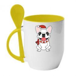 Кружка с керамической ложкой New Year's French Bulldog