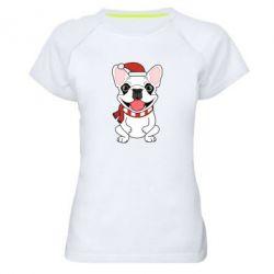 Женская спортивная футболка New Year's French Bulldog