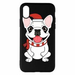 Чехол для iPhone X/Xs New Year's French Bulldog