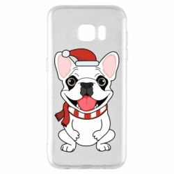 Чехол для Samsung S7 EDGE New Year's French Bulldog