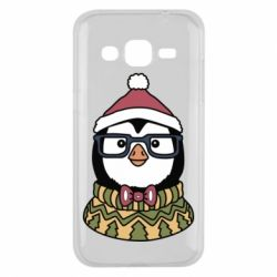 Чехол для Samsung J2 2015 New Year's Penguin