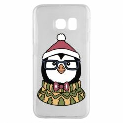 Чехол для Samsung S6 EDGE New Year's Penguin