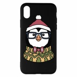 Чехол для iPhone X/Xs New Year's Penguin