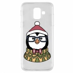 Чехол для Samsung A6 2018 New Year's Penguin