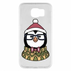 Чехол для Samsung S6 New Year's Penguin