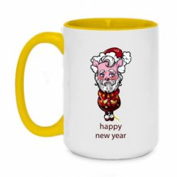 Кружка двоколірна 420ml New Year's pig tied with a garland