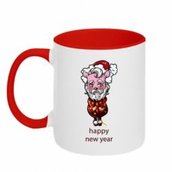 Кружка двоколірна 320ml New Year's pig tied with a garland